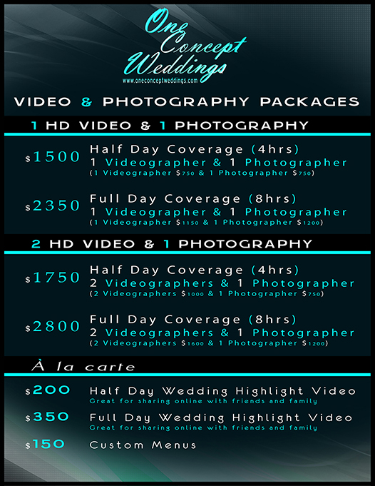 Price guides wedding videography photography for Wedding videography packages